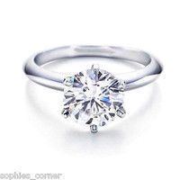 1 ct. White Sapphire 6 Prong Solitaire Engagement Ring ~ Sterling Silver Size 5