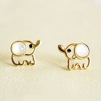 Cute Beige Opal Elephant Stud Earrings