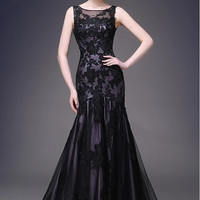 Beaded Mesh Illusion Black Gown