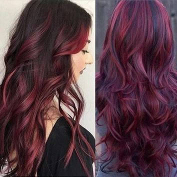Wig lady wine red big wave long curly hair wig