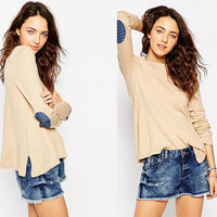 Light Khaki Dotted Elbow Patched Knitted Sweater With Side Slit
