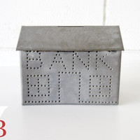20% Off Sale - Vintage Tin House Bank - Antique - Industrial Chic - Punched Tin - Bank Collector