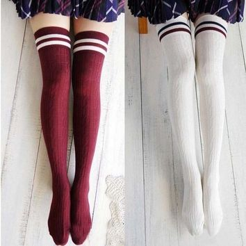 Women New Girls Cotton Knit Over Knee Thigh Stockings High Socks Hosiery Tights F_F = 5987755457