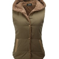 Thanth Womens Padded Puffer Active Bodywarmer Vest with Hood KHAKI Large