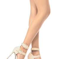 Beige Faux Leather Ankle Strap Stiletto Heels