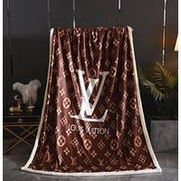 LV Louis Vuitton Lamb Wool Blanket 1.5m Air Conditioning Blanket Car Cover Blanket Travel Leisure Blanket