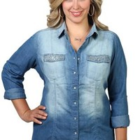 plus long sleeve sand blasted chambray shirt with colored and ab stones on pocket