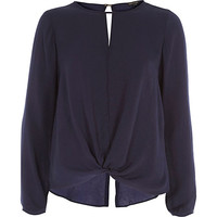 River Island Womens Navy long sleeve knot front slit back top