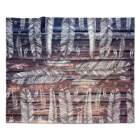 """Suzanne Carter """"Snowflakes And Feathers"""" Blue White Fleece Throw Blanket"""