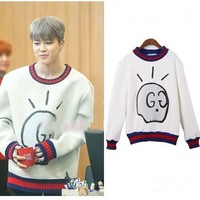 kpop BTS JIMIN cotton white Round Collar women hoodies korean Bangtan Boys loose Harajuku Long sleeve sweatshirts women clothes