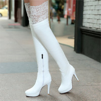 Sexy Women Lace Over The Knee Boots High Heels Boots