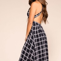 On the Breeze Navy Checkered Midi Dress