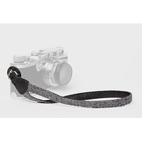Charcoal Baby Alpaca Wool and Black Leather Camera Wrist Strap (ring attachment)