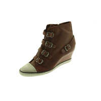 ASH Womens Leather Toe Cap Wedge Boots