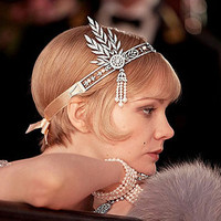 Great Gatsby DAISY Crystals Pearl Tassels Silver Wedding Bridal Pearl Tiaras and Crowns  Hair Hoop Headbands XB06 Hair jewelry