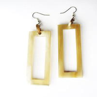 Fashion drop earrings - long, Big, elegant, rectangle