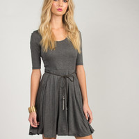 Belted A-Line Dress - Charcoal