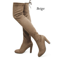 Women Boots Faux Suede Thigh High Fashion Over the Knee Boot Stretch Sexy Overknee High Heels Woman Shoes Black Brown Grey