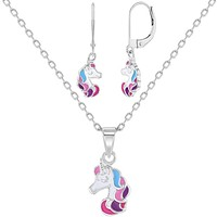 925 Sterling Silver Rainbow Multicolor Unicorn Jewelry Set Dangle Earrings Necklace for Girls