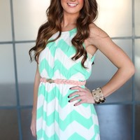 Spearmint and Sweet Chevron Dress