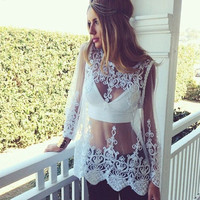 Hot Popular Women Lace Lace Sexy Floral Printed Long Sleeve Erotic Top _ 12897