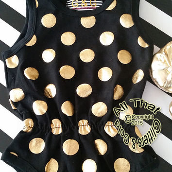 Black Gold Baby Onesuits - Cute Black and Gold Polka Dot Baby Girl Toddler Girl Little Girl Tank Bodysuit Rompers Size 0 to 3T