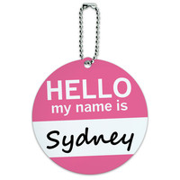 Sydney Hello My Name Is Round ID Card Luggage Tag
