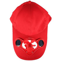 SODIAL(R)Summer Outdoor Solar Sun Power Hat Cap Cooling Cool Fan for Golf Baseball Sport - Red