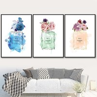 Watercolor Paris Perfume Peony Salon Wall Art Canvas Painting Nordic Posters And Prints Wall Pictures For Living Room Home Decor