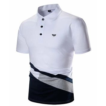Fashion Casual Men Cut And Sew Embroidery Polo Shirt