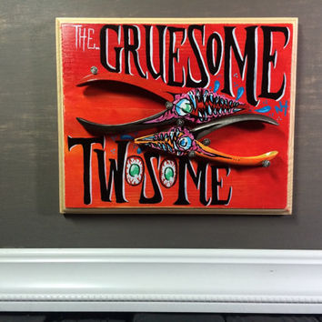 Gruesome Twosome Red Monster Painting