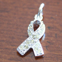 Military Awareness Ribbon Pendant Charm, Yellow Crystal  Ribbon - Support Your Troops Jewelry