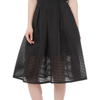 Black Grid Cut-Out Pleated Skirt