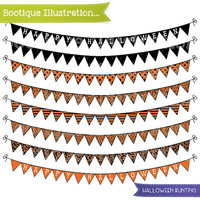 Clipart- Halloween Bunting. Halloween Bunting Clip Art in Orange and Black Patterns. Png, Jpeg & Eps Vector files included. Commercial Use*