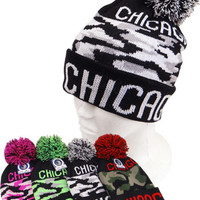 * Chicago Camo Beanie In Pink
