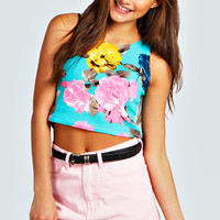 Gracie Neon Floral Crepe Crop Sleeveless Shell Top