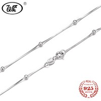 """WK NEW Pure 925 Sterling Silver Necklace Snake Chain With Ball 16"""" 18"""" Long Solid S925 Necklaces Woman Girls Party Gift W1 NA015"""