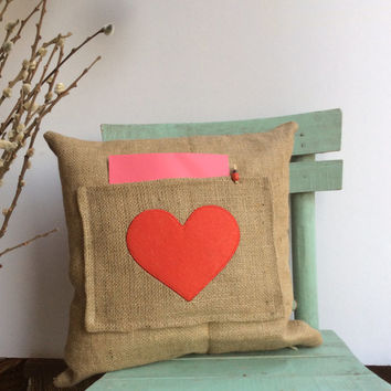"""Valentine's Day, Hessian/Burlap pillow cover, Pocket Pillow, Heart, Message Pillow, Appliqued and pillow size 16""""X 16"""""""
