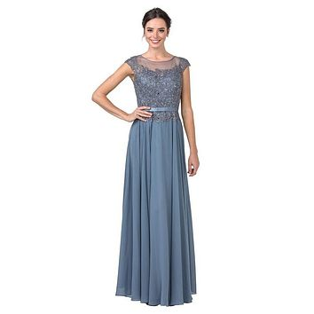 Slate Blue Appliqued Long Formal Dress with Cap Sleeves