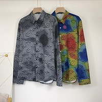 LV autumn and winter new fashion all-match tie-dye color long-sleeved button shirt