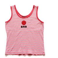 90s 00s Nostalgia BRB Striped Tank Top Red White Emoticon Internet Slang Nerd Geek Grunge Hipster Iron On Graphic Top