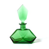 ART DECO Perfume Bottle, 1930s, Green Cut Crystal Glass Bottle, Boudoir, Dressing Vanity Table, Perfume Tray, Discovered in Switzerland