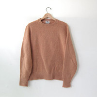 vintage 70s wool sweater. light brown sweater. fall pullover sweater