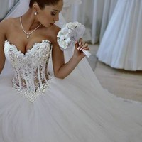 Vestidos De Noiva White Strapless Romantic Wedding Dresses Ball Gown Pearls Bridal Gowns Lace Up Back Tulle China
