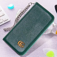 GUCCI New fashion leather couple protective case phone case Green