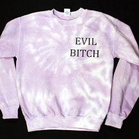 Evil Bitch Purple Tie Dye Sweatshirt Small