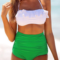 White Green Block High-Waisted Bandeau Bikini