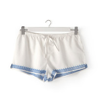 Embroidered Blue Shorts | ZARA HOME United States of America