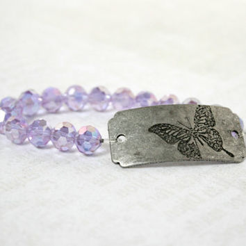 Iridescent Purple and Brushed Silver Butterfly Curved Tag Stretch Bracelet - Glass Beaded Romantic Jewelry - Ready to Ship