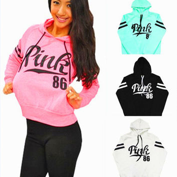 """"""" Pink 86 """" Printed Everyday Wear Comfortable Loose Casual Simple Victoria Secret Like Hoodie Pullover Jumper Blouse Swearshirt Shirt Top _ 9318"""